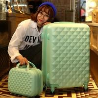 14+24 Inch Women Suitcase Spinner wheel Girls Suitcase Rolling luggageBoxes Travel Bag Trolley Case Hardside Diamond plaid
