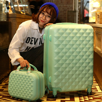 14+24 Inch Women Suitcase Spinner wheel Girls Suitcase Rolling luggageBoxes Travel Bag Trolley Case Hardside Diamond plaid