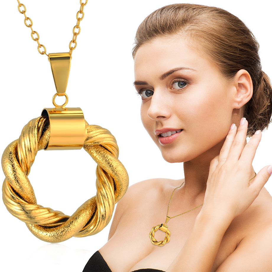 Collier Female Gold Pendant For Women Female Gold Color Circle Round Necklaces & Pendants For Lovers Jewelry