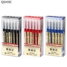 12 Pcs/Set Black Ink Blue Pen Gel MUJI Style Japanese 0.35mm School Office Stationery Supplies