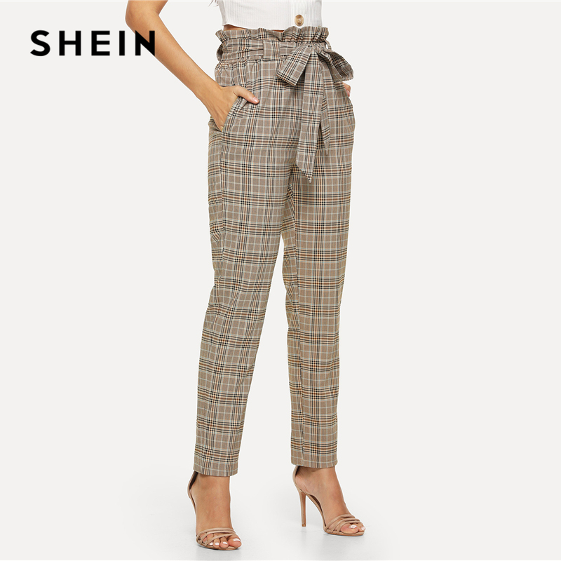 SHEIN Multicolor Elegant Minimalist Office Lady Workwear Vintage Belted Frill High Waist Plaid Pants Autumn Casual Trousers