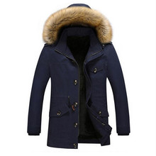 Free Shipping New 2017 Men Cotton Fur Collar Jacket Thick Hooded Men Winter  Coat masculina Parka Mens Casual Outwear