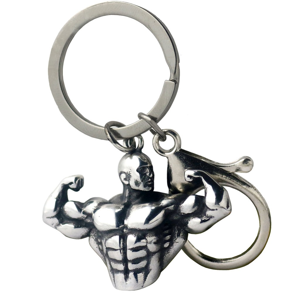 Sportsman Muscle Man Strong Body Stainless Steel KeyRing Fitness Gym For Male Wallet Dangle Lobster Key Chain Hip Hop Jewelry