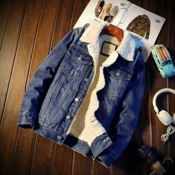 Classic Mens Denim Jacket Autumn and Winter Thick Warm Mens Coat Plus Velvet Denim Jacket High Quality Large 4XL 5XL
