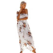 Maxi Dress Floral Vintage Print Summer Women's Off Shoulder Long Dress Chiffon Beach Style Boho Dresses White Party Dresses S8