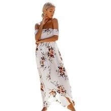 Maxi Dress Floral Vintage Print Summer Women's Off Shoulder Long Dress Chiffon Beach Style Boho Dresses White Party Dresses S8