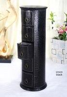 Round 5 Drawer Leather Floor CD DVD Cabinet Sundries Container Storage Box Case Organizer Holder Croco