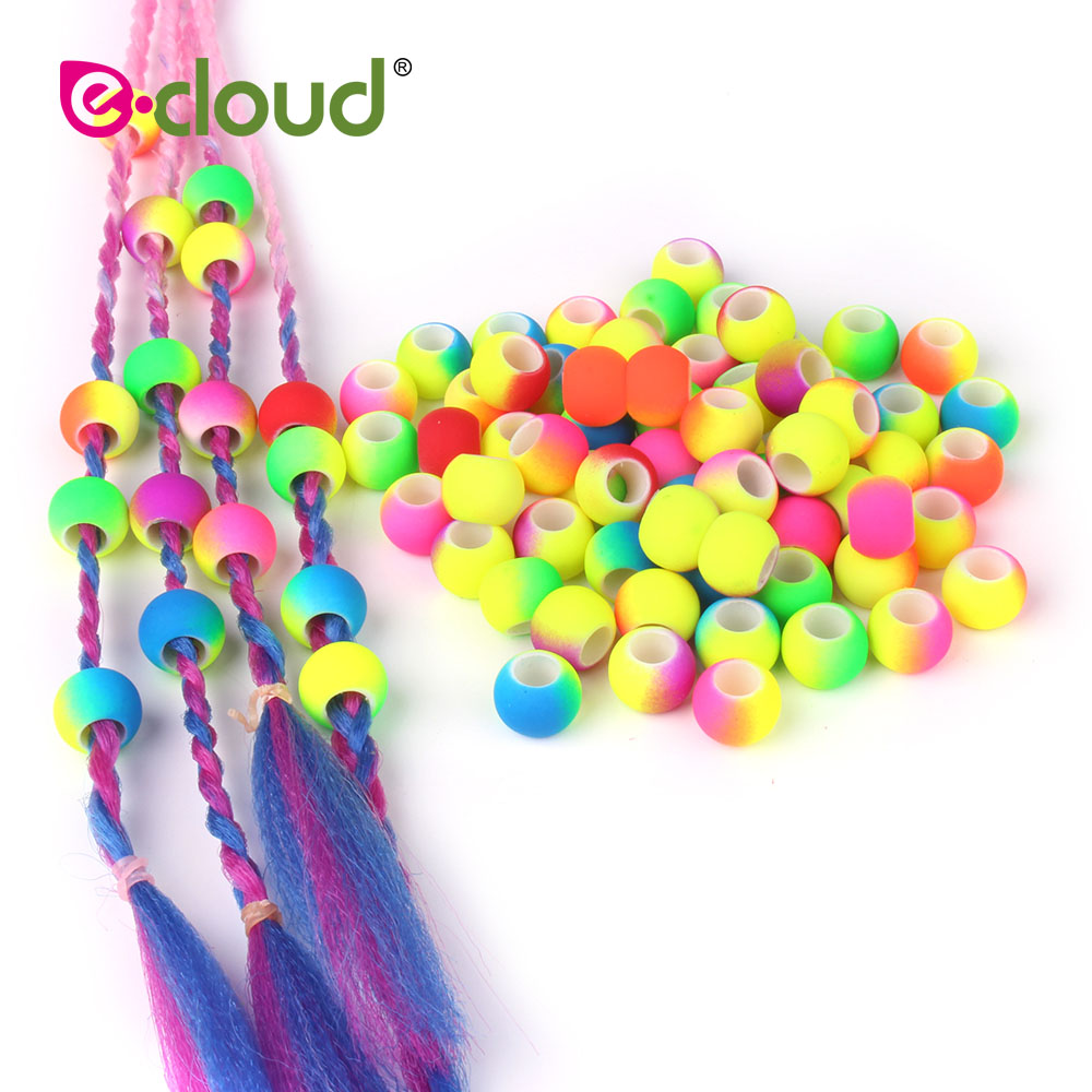 50pcs 5mm Hole Double Color Gradual Change Acrylic  Round Hair Beads For Braids DIY Dreadlock Beads Hair Jewelry For Braids