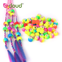 Hair-Beads Braids Acrylic Double-Color Round for DIY Dreadlock 50pcs 5mm-Hole Gradual-Change
