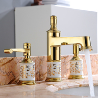 Fashion Waterfall Bathroom Dual Handles Sink Mixer Faucet Deck Mounted Gold Color Basin Vessel Sink Faucet