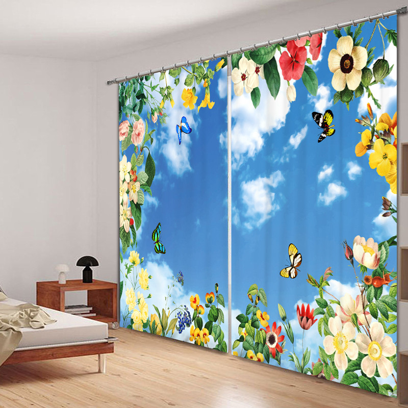 Flowers and butterflies Printing Blackout Curtains Living Room hotel Drapes Cortians Sunshade Window Curtain 3D CurtainsFlowers and butterflies Printing Blackout Curtains Living Room hotel Drapes Cortians Sunshade Window Curtain 3D Curtains