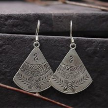JINSE  Natural 925 Sterling Silver Earrings Carved Fan Shape Handmade Dangle Drop Jewelry