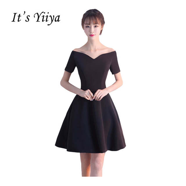 5788b673e56 Online Shop It s YiiYa New Black Off Shoulder Sweetheart Cocktail Little  Black Dress Sex Knee Length Party Simple Vintage Black Dresses X155