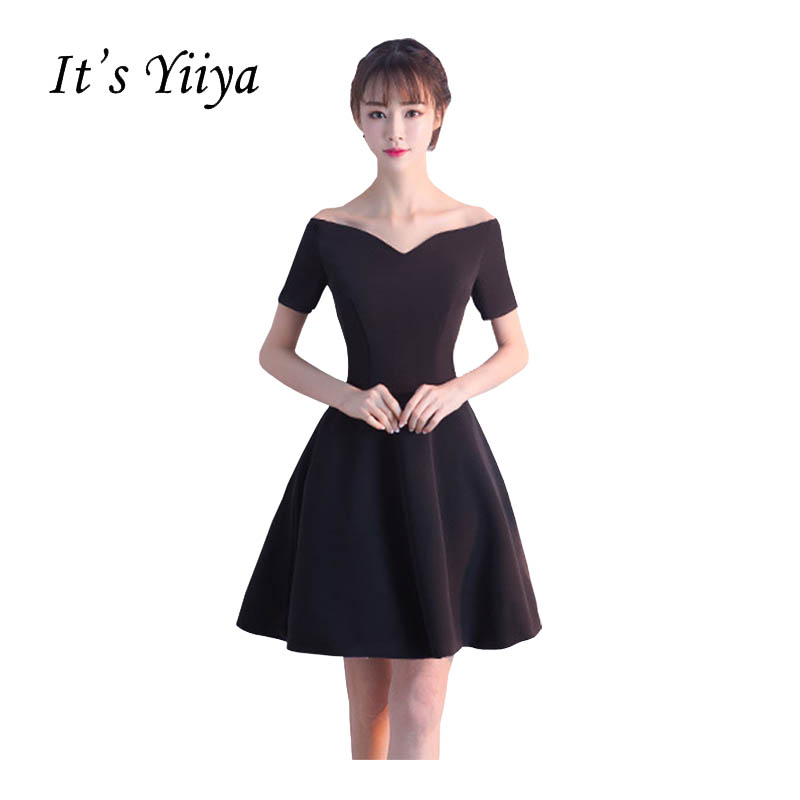 It's YiiYa New Black Off Shoulder Sweetheart   Cocktail   Little Black   Dress   Sex Knee Length Party Simple Vintage Black   Dresses   X155