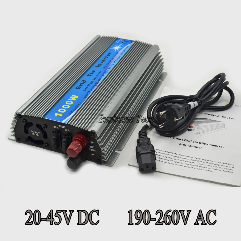 1000W solar Grid Tie Micro Inverter, Pure Sine Wave solar grid tie nverter 20-45V DC to AC 120/230V for 24V /36V PV panels mppt solar inverter 1000w 1kw 24 45v dc input 36v solar pv grid tie pure sine wave power inverter ac output 190 260v