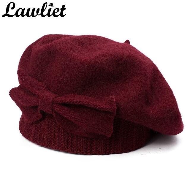 Lawliet נשים כומתת חורף כובע 1920s שיק סגנון 100% מבושל צמר קשת פרטים חורף כפת Skullies הבסקים צרפתית אמן מצנפת