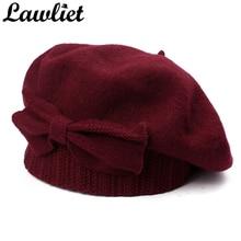 Lawliet Womens Beretหมวกฤดูหนาว1920Sสไตล์เก๋100% ขนสัตว์BowฤดูหนาวBeanie Skullies Basqueฝรั่งเศสศิลปินbonnet