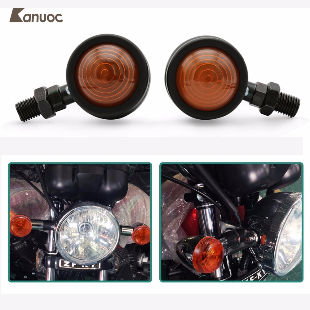 Motorcycle Turn Signal Lights Chrome Bullet Front Rear Blinker Indicator Light for Harley Honda Kawasaki Suzuki Yamaha Motorcycl