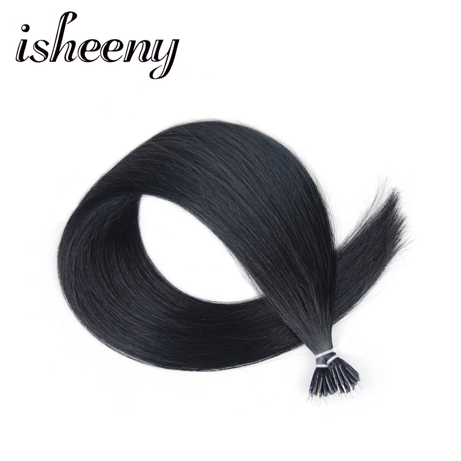 Isheeny 14 18 22 1# Natural Remy Hair Nano Rings Black Micro Beads Hair Extension Straight 50pcs DHL Free Shipping Human Hair