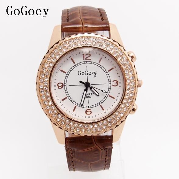 4bede269e770 Alta calidad Gogoey cuero reloj relojes reloj de cuarzo reloj femenino GO080