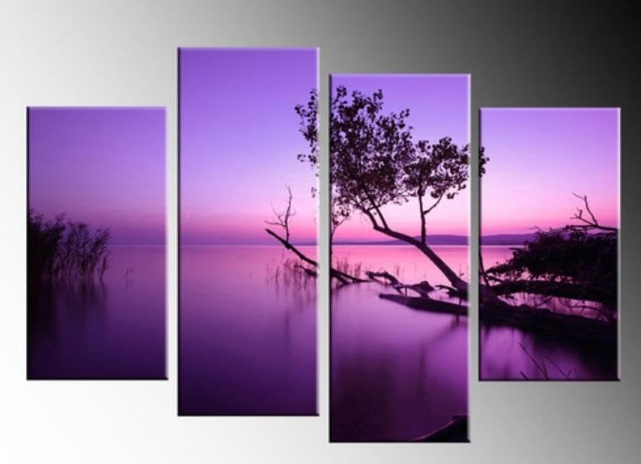 handicraft purple lake 4 panel canvas pictures oil painting wall art decor split