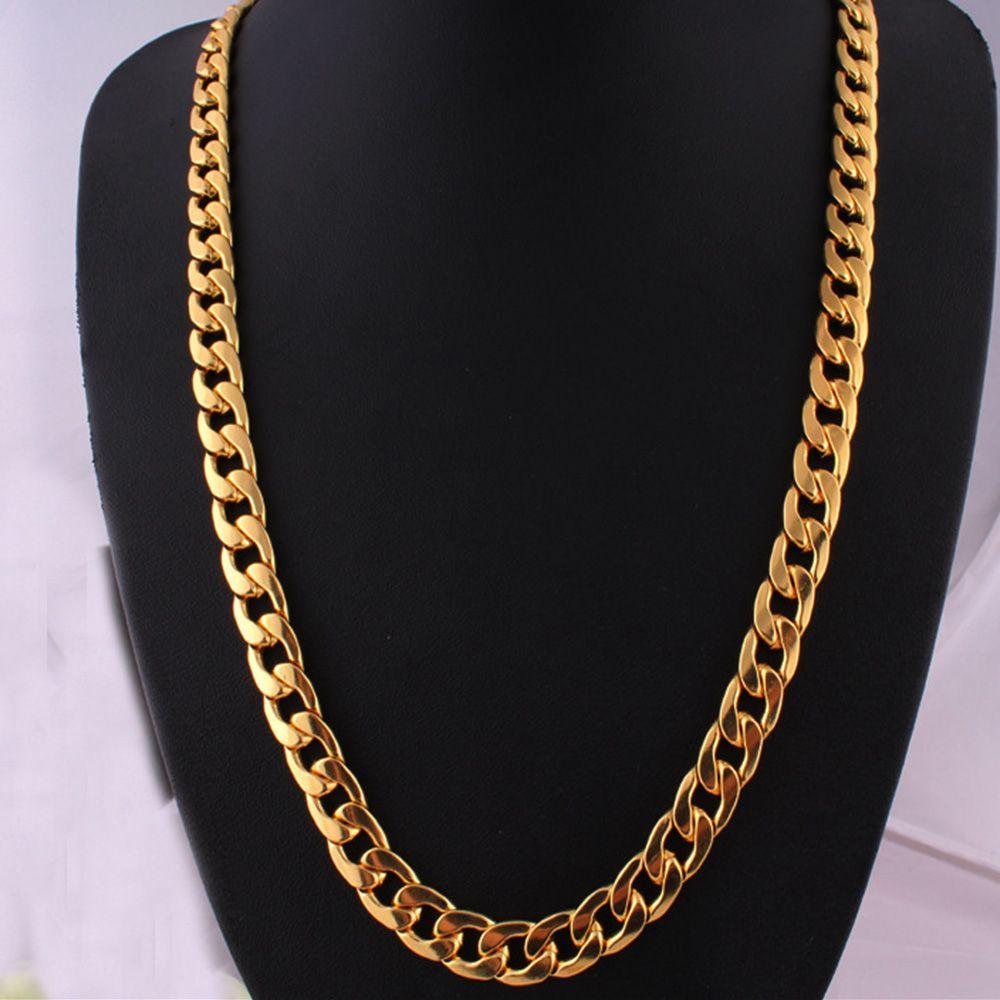 Hip Hop Men Necklace Chains Fashion Solid Gold Color Filled Cuban Long Necklace DIY Chain Charm Unisex Jewelry 2019 Hot Sale