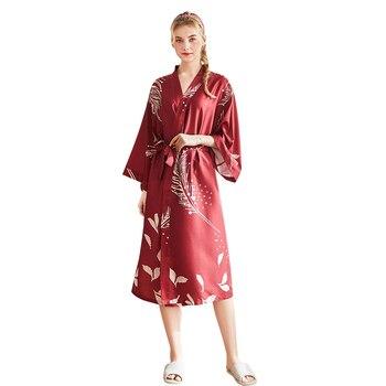 Daeyard Luxury Silk Robe For Women Spring Summer Print Robe Long Bathrobe Fashion Dressing Gown Female Sleepwear Home Clothes 1