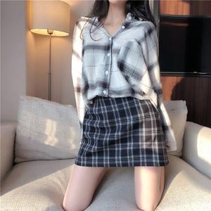 Image 5 - TIGENA Vintage Plaid Skirts Women 2019 Summer Korean Fashion A line High Waist Skirt Female Sexy Mini Short Checked Skirt School