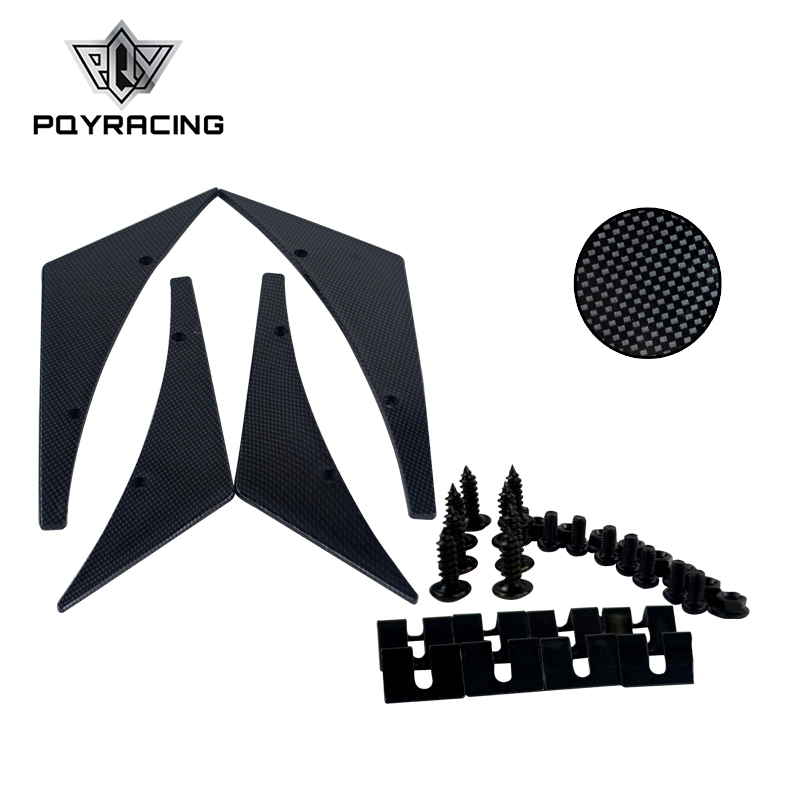 PQY RACING - Carbon Fiber Universal Fit Front Bumper Lip Splitter Fins Body Spoiler Canards Valence Chin Winglets PQY-BS22