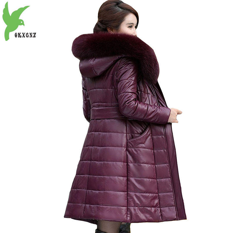 Plus Size L-8XL Winter Parkas For Women 2019 Genuine Leather Coat Down Cotton Jacket Female Thicken Warm Tops Large Size Coats