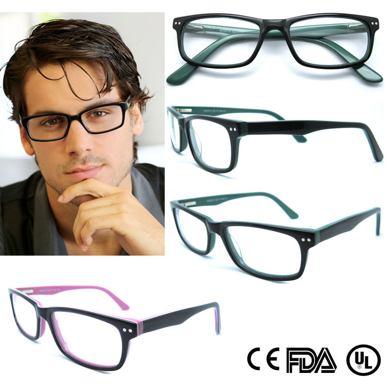 2015 factory direct selling hot modern solid acetate black men glasses with mental decorate pin spring hinge eyewear b020215 in eyewear frames from mens