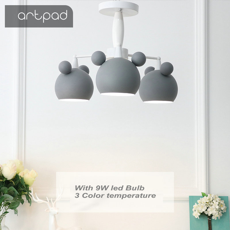 Artpad Dimmable 3 Heads 6 Heads Children Ceiling Light Bedroom with E27 9w 3 Colors Bulb Creative Personality Restaurant Lights