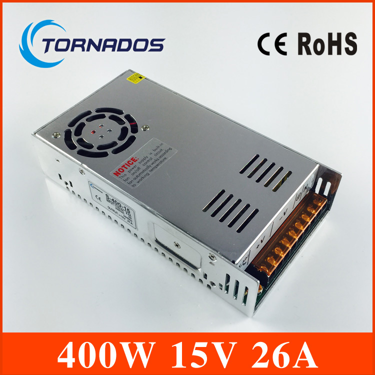 400W 15V 26A Small Volume Single Output Switching power supply for LED Strip light AC TO DC S-400-15 s 400 15 400w 15v 27a single output switching power supply for led strip light ac dc