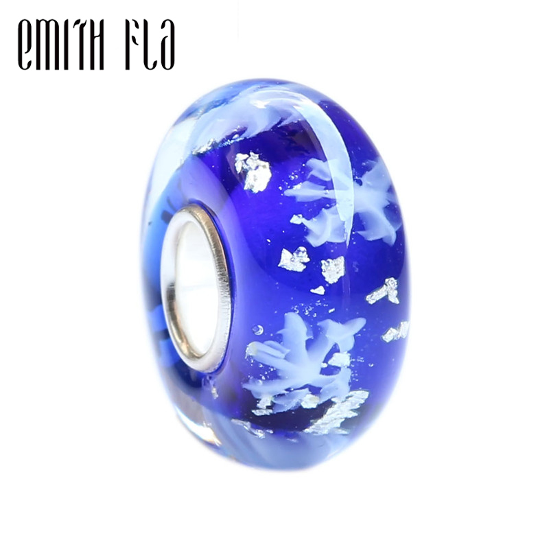 Emith Fla 925 Sterling Silver Retro Handmade Snow Murano Glass Charm Beads Fit For European Brand Bracelet DIY Jewelry Makings image