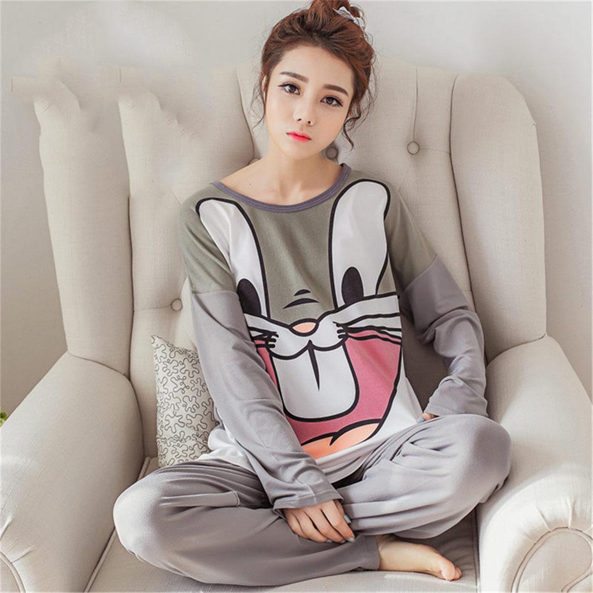 Winter Women   Pajamas     Sets   Casual Autumn Sleepwear Cartoon Warm Modal Velvet Suit kawaii Long Sleeve Animal Pijama Mujer