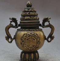 bi002455 11 Folk Chinese Bronze Dragon Statue Buddhist Temple Incense Burner Censer