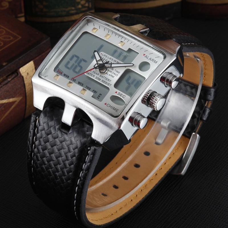 Prix pour Ohsen marque numérique quartz sport montres-bracelets pour hommes bracelet en cuir de mode blanc imperméable à l'eau en plein air casual main montre heures