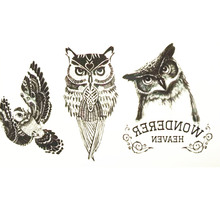 10x6cm Temporary Small Cute Fashion Tattoo Three Small Lovely Owl