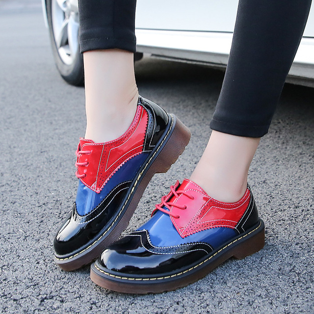 2016 Autumn Fall Women Oxford Shoes Vintage Round Toe Women Flats Derby Ankle Boots England Style Ladies Shoes Chaussure Femmer