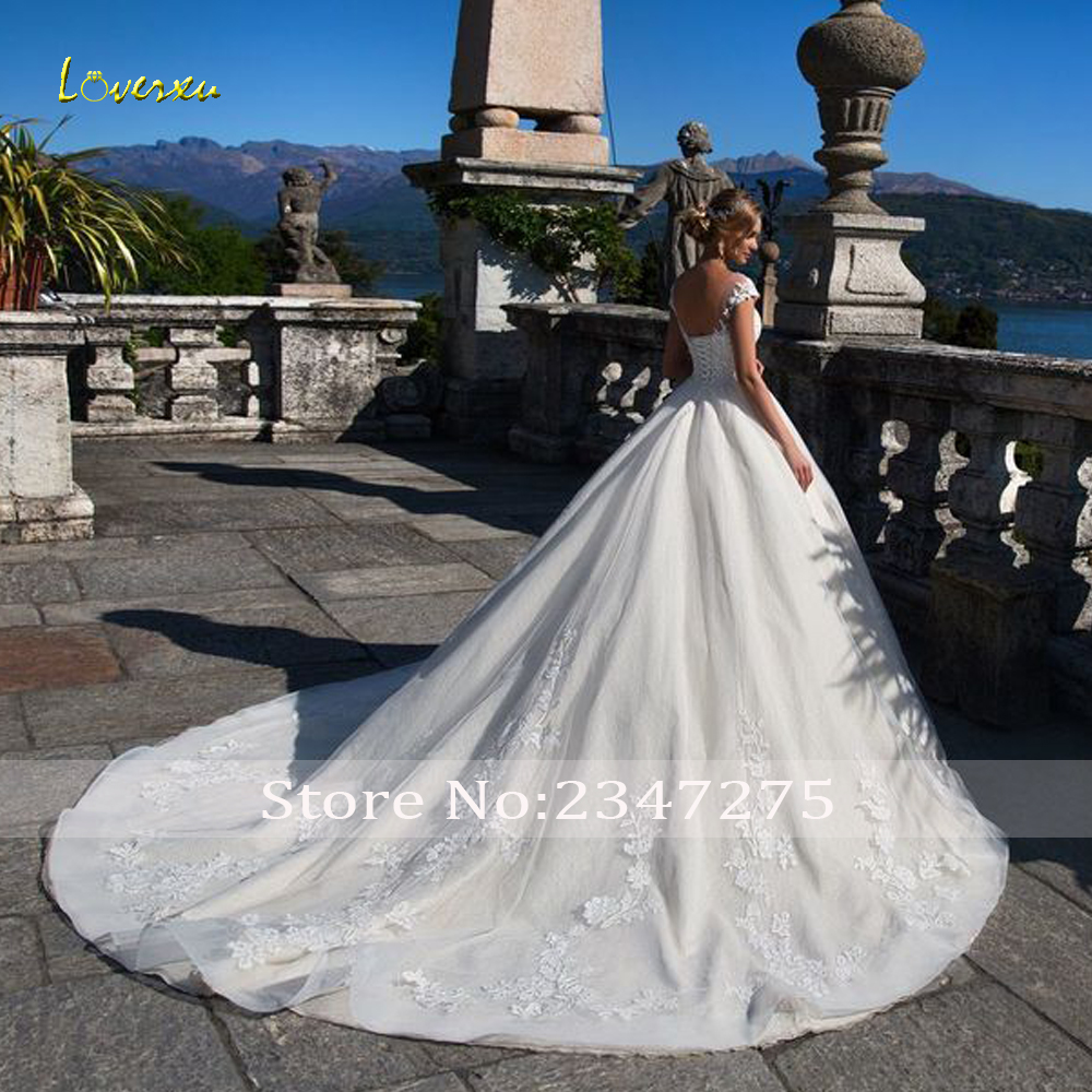 Image 2 - Loverxu Vestido De Noiva Sexy Backless Lace Wedding Dresses 2019 Luxury Appliques Beaded Court Train Princess A Line Bridal Gown-in Wedding Dresses from Weddings & Events