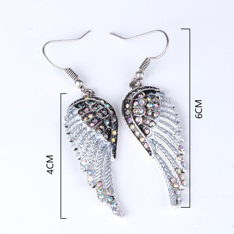 Engel vinger dingle øreringe antik guld sølv farve W krystal - Mode smykker - Foto 4