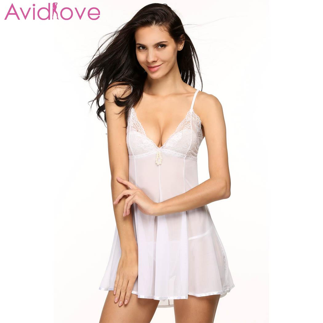 Avidlove Women Sexy Lingerie V Neck Erotic Ligerie Sleepwear Plus Size Mini Lace Babydoll Nightwear Female Sexy Dressing Gown|Babydolls & Chemises| | - AliExpress