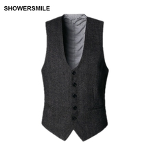 SHOWERSMILE Dark Grey Suit Vest Mens Wool Tweeds Autumn Vintage Slim Fit Striped Waistcoat England Style Sleeveless Jacket Gilet showersmile mens double breasted vest suit black dress waistcoat for men slim fit sleeveless jacket male spring autumn gilet