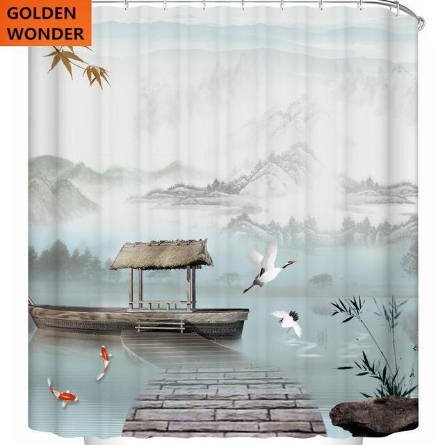 Fashion High Grade Polyster Fairyland Creative Shower Curtain
