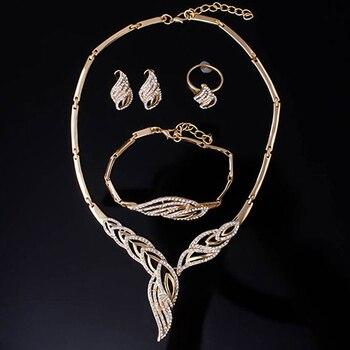 Wavy Rhinestone Gold Jewelry Set 3