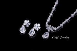 Image 4 - CWWZircons Acessórios De Noiva Cor de Ouro Branco Espumante Cubic Zirconia Cristal conjuntos de Jóias para o Casamento Da Dama de honra Presente T120