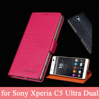 Top Grade Case For Sony Xperia C5 Ultra Dual Genuine Leather Skin Screen Protector Flip Wallet