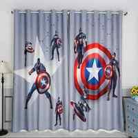 الكرتون الرجل الحديدي الكابتن أمريكا تعتيم الستائر للأطفال غرفة المطبوعة الستار للبنين نوم نافذة العلاج نوم Drap