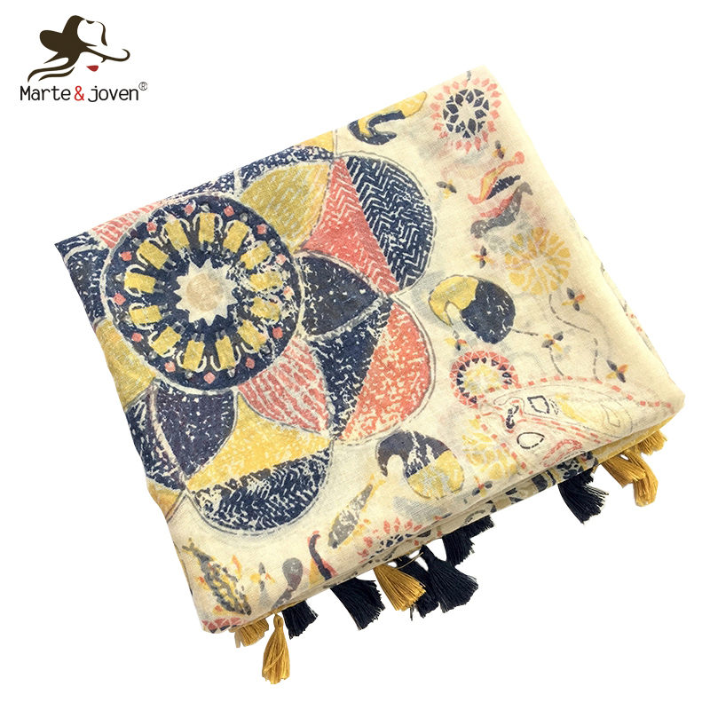 Marte&Joven Art Floral Printing Autumn Women Polyester Yellow Scarves Wraps Fashion Tassels Large Size Sunscreen Pashmina Shawls