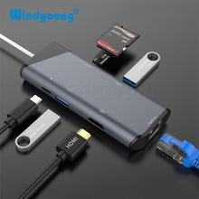 7 IN 1 USB C HUB to HDMI Gigabit Ethernet Rj45 Adapter 4K USB3.1 SD/TF Card Reader for MacBook Pro iPad HUEWEI Type C Hub Hdmi цена и фото
